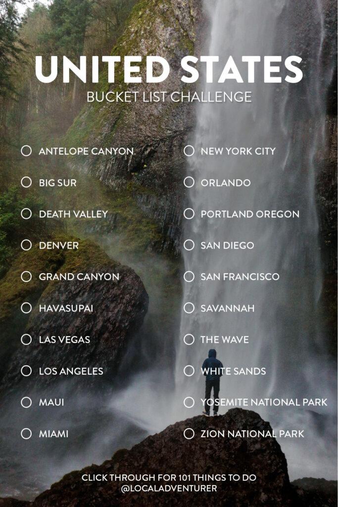 United States Bucket List Challenge // Local Adventurer #usa #bucketlist