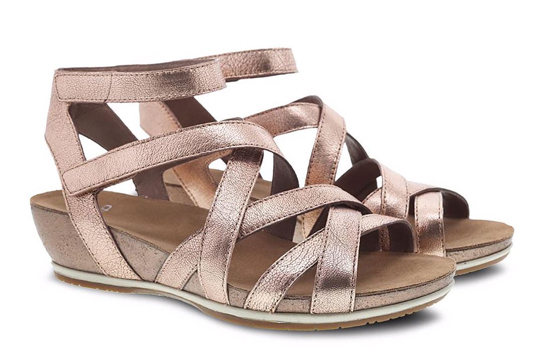 Dansko Veruca Rose Gold Nappa Sandals for Travel