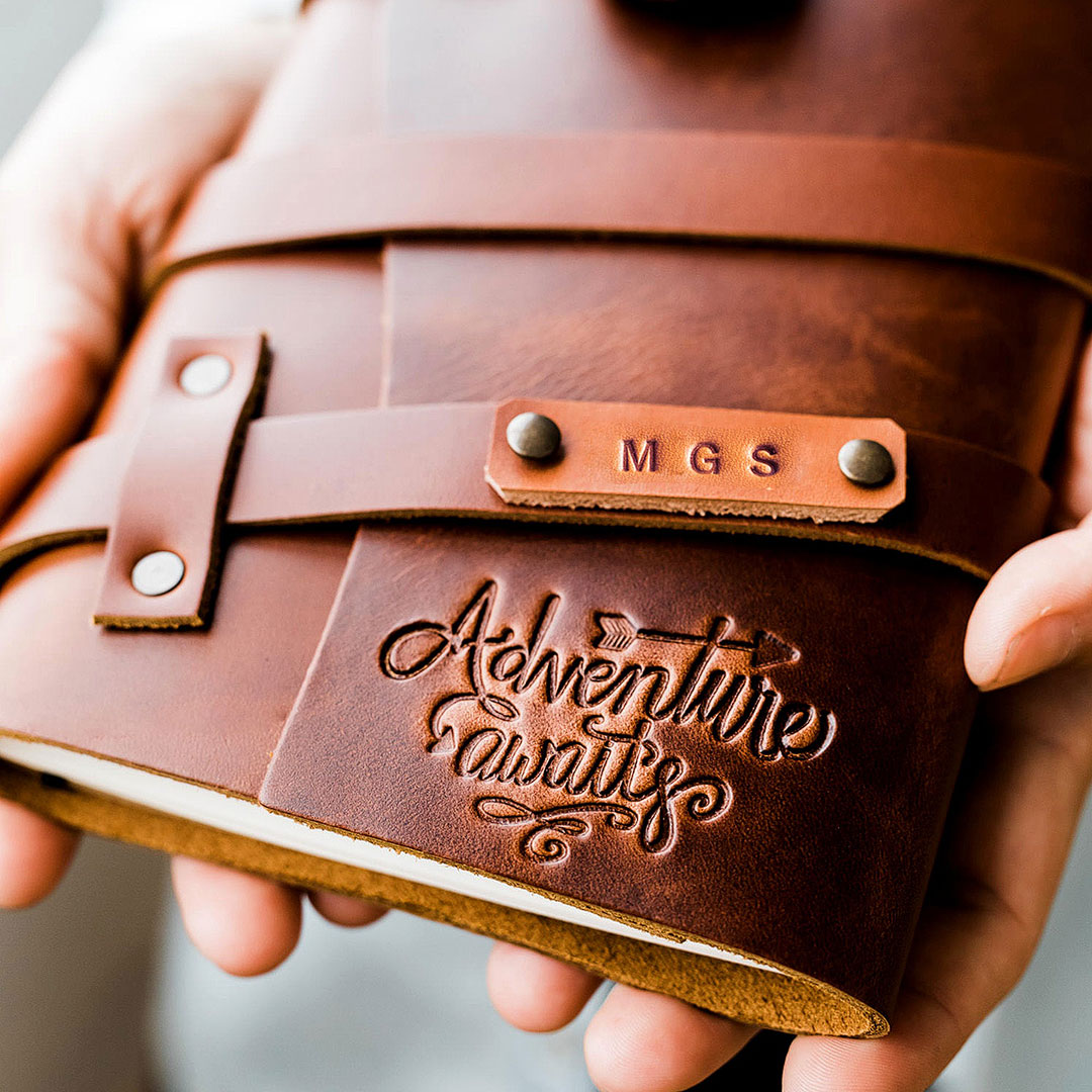 Custom Leather Journal + 9 Unique Leather Anniversary Gifts for Him + Her