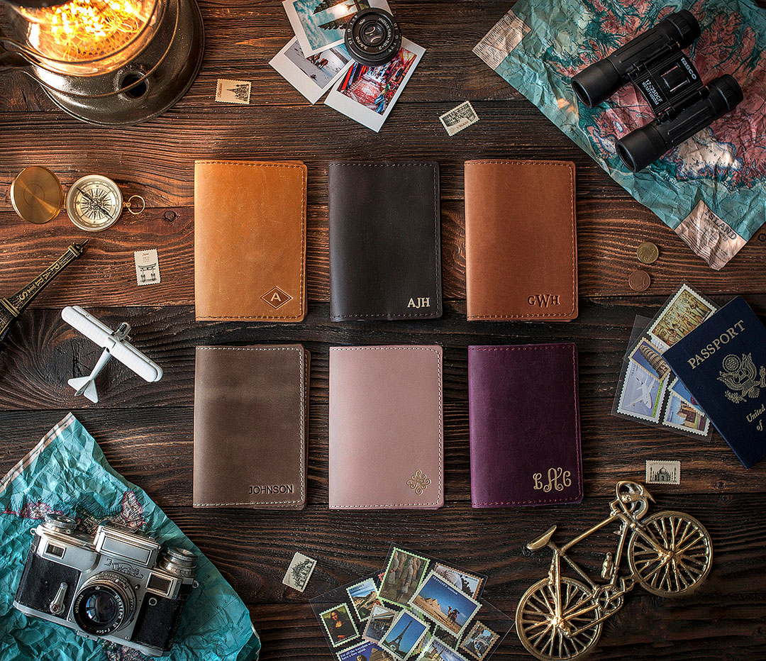 Custom Leather Passport Holder + 9 Amazing Leather Anniversary Gifts for Him and Her