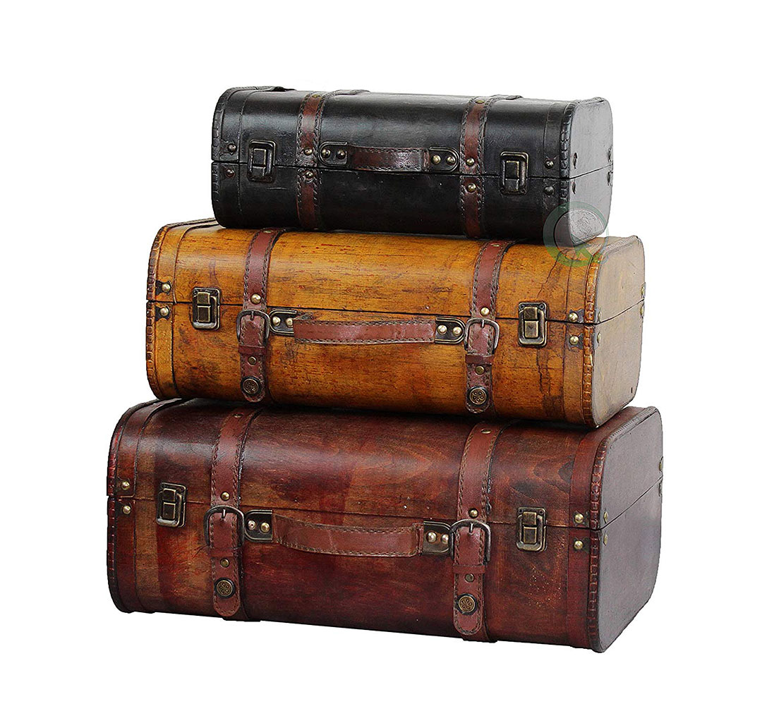 Vintage Leather Luggage Decor for the Home + 9 Ninth Anniversary Gift Ideas for Leather, Pottery, and Willow