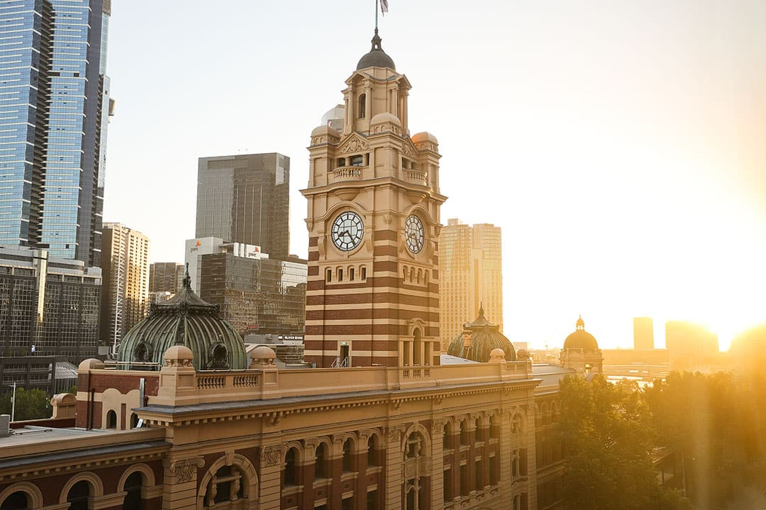 Flinders Street Railway Station at Sunset