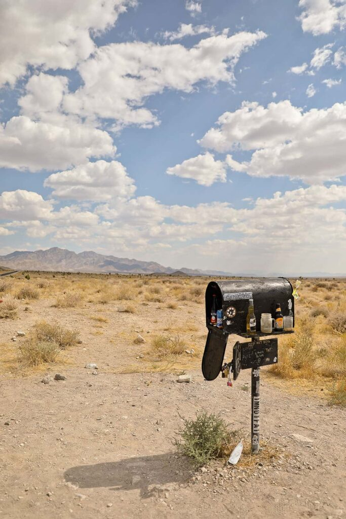 Extraterrestrial Highway Black Mailbox in Nevada